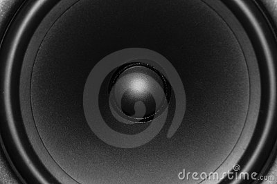 Close up view of audio speaker