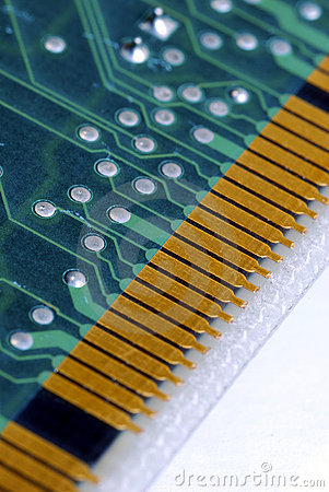 Close-up view of the computer circuit board