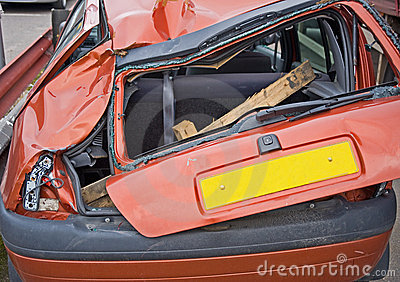 Close up view of a crashed car.