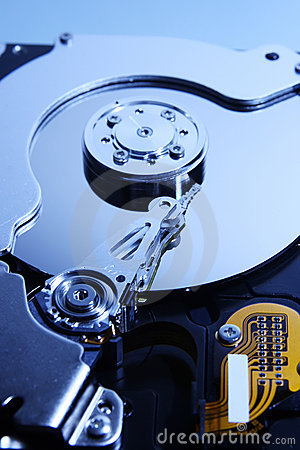 Close-up view of the  hard disk drive