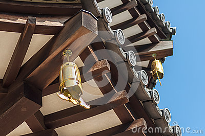 Close-up view of Japanese pagoda roof