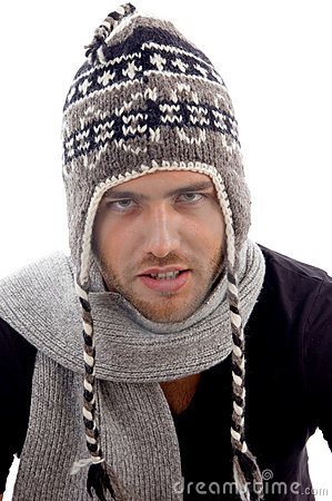 Close up view of male model wearing stylist cap