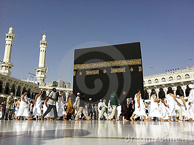 A close up view of Muslim pilgrims in Mecca Editorial Stock Photo