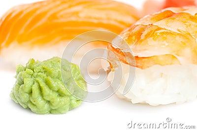 Close up view of nigiri sushi