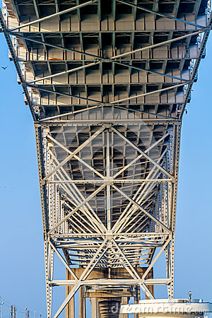 Free Close Up View Of The Underside Of The Steel And Iron Works Of A Coastal Bridge Stock Photos - 53313863