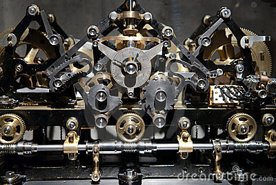 Close up view of old clock gear mechanism