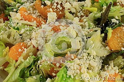 Close-up view of Salad Lettuce, Mandarin Oranges, Feta Cheese