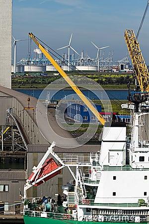 Close up view of ship at terminal