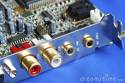 Close up view of a sound card