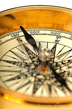 Close-up view of the vintage compass