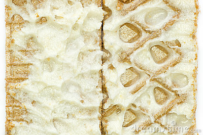 Close-up waffles with cream