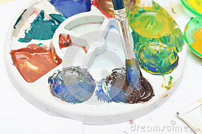 Close up Water color colorful drawing