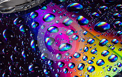 Close up water drops on DVD