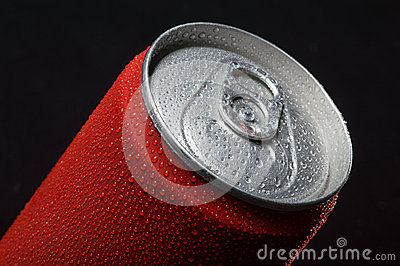 Close-up of wet coca can