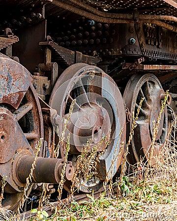 Free Close Up Wheels On Abandoned Stream Powered Locomotive. Royalty Free Stock Photo - 63426585