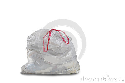 A close up of a white garbage trash bag