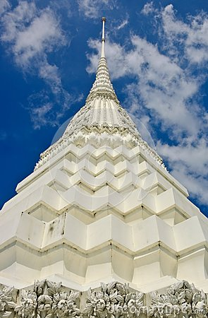 Close up of white pagoda in Bangkok