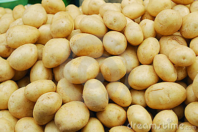 Close up of white potatoes on market stand