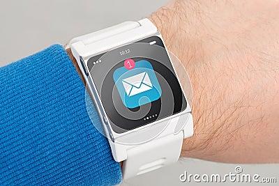Close up white smart watch
