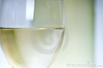Close up of white wine in glass
