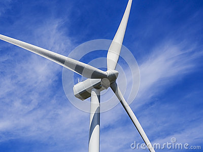 Close up of wind turbine