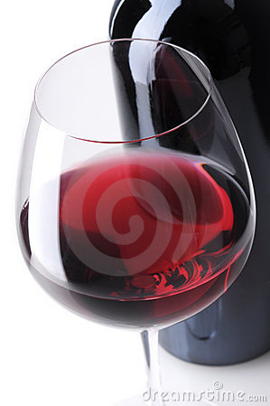 Close up of Wine Bottle and Glass
