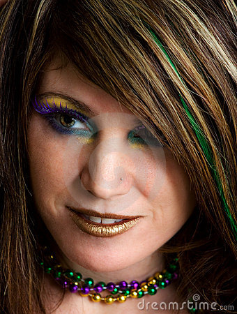 Close-Up Of Woman With Colorful Makeup