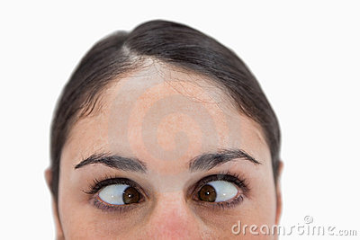 Close up of a woman cross-eyed