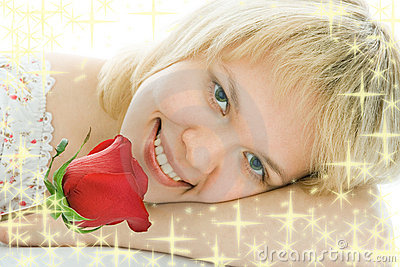 Close-up woman face with rose flower