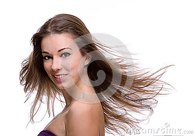 Close up of woman with flying hair