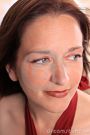 Close up of woman in her early forties