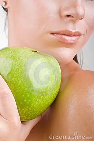 Free Close-up Woman Holding An Apple Stock Photography - 22302322