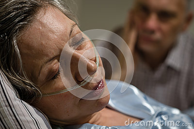 Close up of woman with nasal cannula