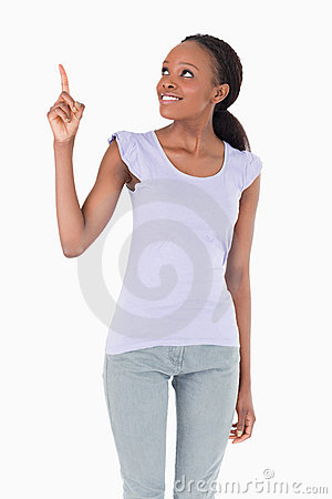 Close up of woman pointing at something