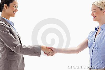 Close-up of women shaking hands