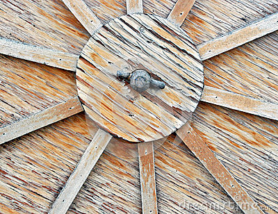 Close Up of Wooden Cart Wheel