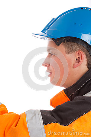 Close up of worker builder looking left