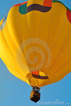 Close up of a yellow hot air balloon