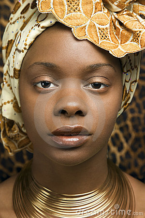 Close-up of Young African American Woman in Tradit