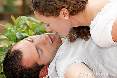 Close up of young lovers about to kiss