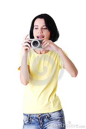 Close-up of a young woman photographer