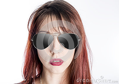 aviator style glasses nwaz  Fashionable Young Woman Wearing Aviator Sunglasses Stock Photo
