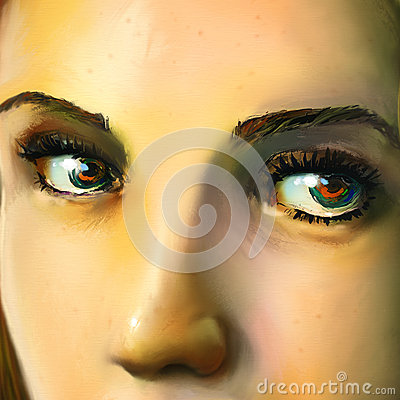 Close up of a young womans face - digital art