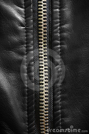 Close up of zip on leather