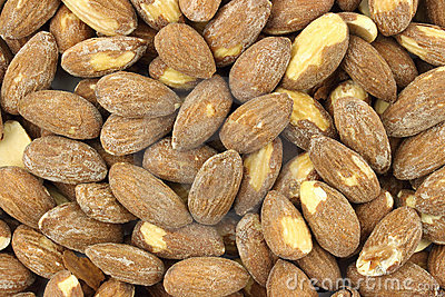 Close view of almonds