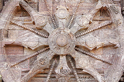 Close view of the chariot wheel, Sun temple Konark