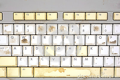 Close view dirty keyboard