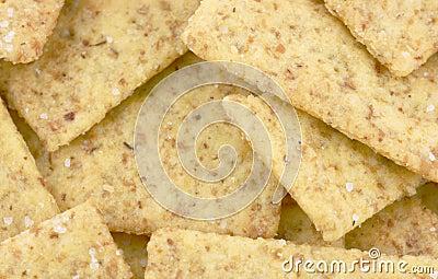 Close view mini wheat crackers