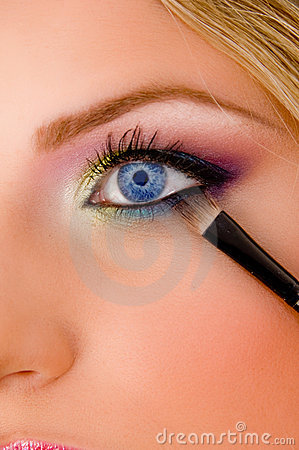 Free Close View Of Young Model Putting Eyeliner Stock Image - 8457291