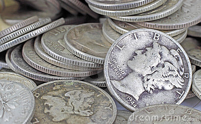 Close view of old silver bullion